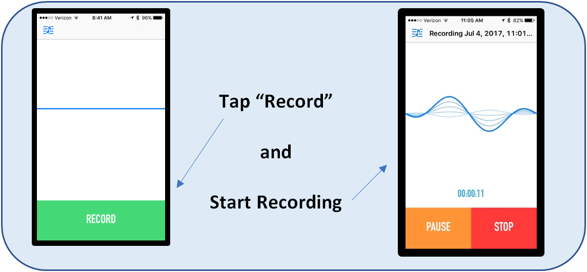 Tap Record and Start Recording