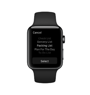 Selecting List on Apple Watch